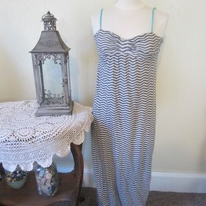 Roxy  L Gray & White striped Maxi sundress